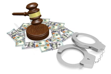 3D law, crime concept - handcuffs, hundred dollar bills