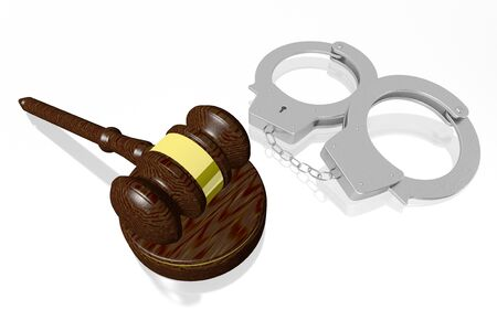 3D law, crime concept - handcuffs, gavel