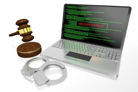 3D law, computer crime, hacking concept - handcuffs