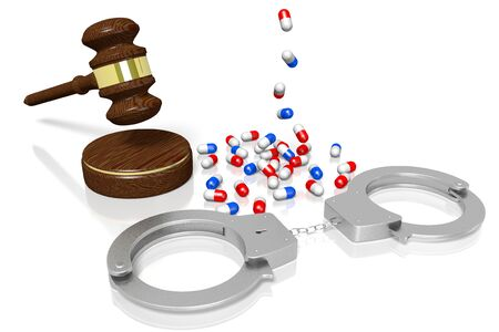3D law, crime concept - handcuffs, medical industry