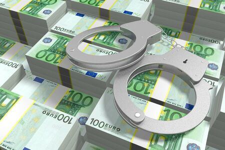 3D law concept - handcuffs, hundred euro bills