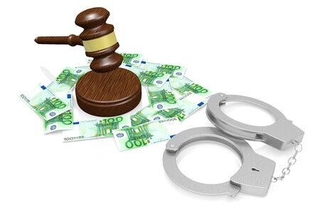 3D law, crime concept - handcuffs, hundred euro bills