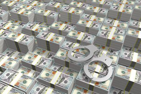 3D law concept - handcuffs, hundred dollar bills