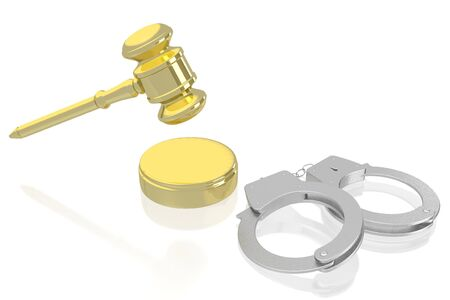 3D law, crime concept - handcuffs, golden gavel