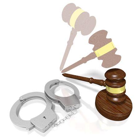 3D law, crime, verdict concept - handcuffs
