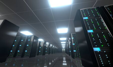 3D server room/ data center - storage, hosting concept Banque d'images - 131153341