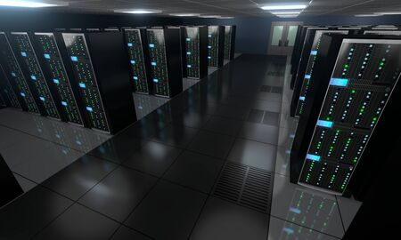3D server room/ data center - storage, hosting concept Banque d'images - 131153345