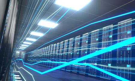 3D server room/ data center - storage, hosting, fast Internet concept Banque d'images - 131153347