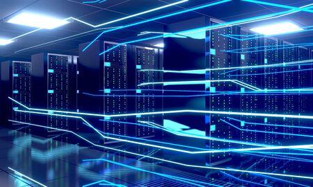 3D server room/ data center - storage, hosting, fast Internet concept Banque d'images - 131153349
