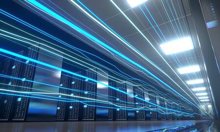 3D server room/ data center - storage, hosting, fast Internet concept Banque d'images - 131153354