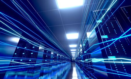 3D server room/ data center - storage, hosting, fast Internet concept Banque d'images - 131153353
