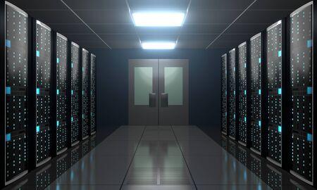 3D server room/ data center - storage, hosting concept Banque d'images - 131153356