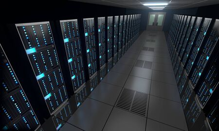 3D server room/ data center - storage, hosting concept Banque d'images - 131153418