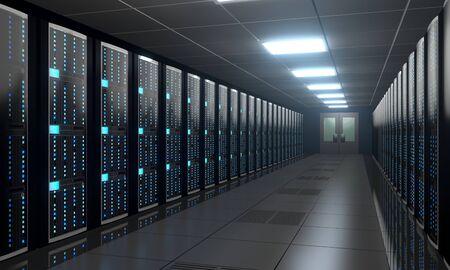 Sala de servidores 3D / centro de datos: almacenamiento, concepto de alojamiento
