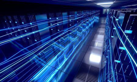 3D server room/ data center - storage, hosting, fast Internet concept Banque d'images - 131153422