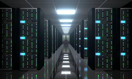 3D server room/ data center - storage, hosting concept Banque d'images - 131153442