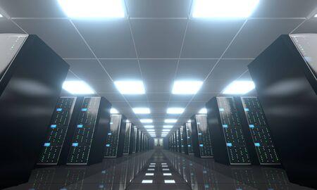 3D server room/ data center - storage, hosting concept Banque d'images - 131153444