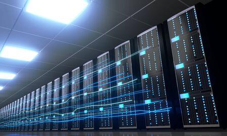 3D server room/ data center - storage, hosting, fast Internet concept Banque d'images - 131153446