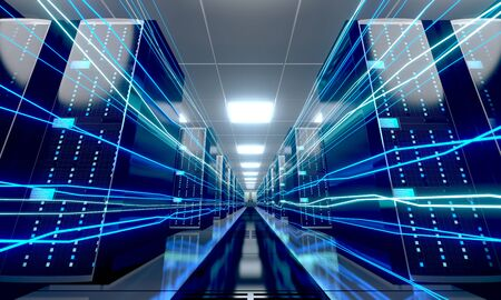 3D server room/ data center - storage, hosting, fast Internet concept Banque d'images - 131153448