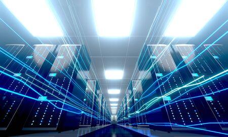 3D server room/ data center - storage, hosting, fast Internet concept Banque d'images - 131153449