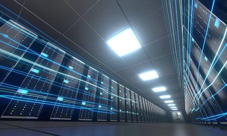 3D server room/ data center - storage, hosting, fast Internet concept Banque d'images - 131153453