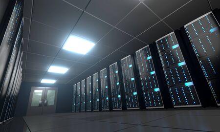 3D server room/ data center - storage, hosting concept Banque d'images - 131153459