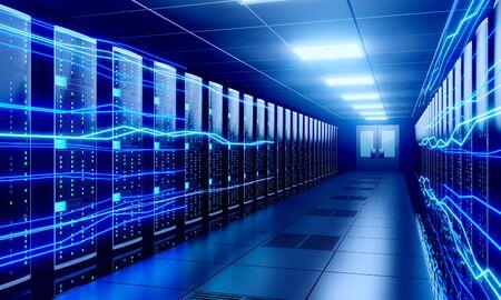 3D server room/ data center - storage, hosting, fast Internet concept Banque d'images - 131153462