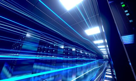 3D server room/ data center - storage, hosting, fast Internet concept Banque d'images - 131153465