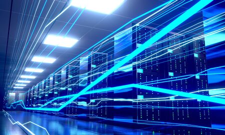 3D server room/ data center - storage, hosting, fast Internet concept Banque d'images - 131153470