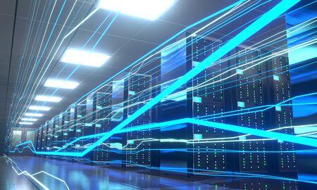 3D server room/ data center - storage, hosting, fast Internet concept Banque d'images - 131153480
