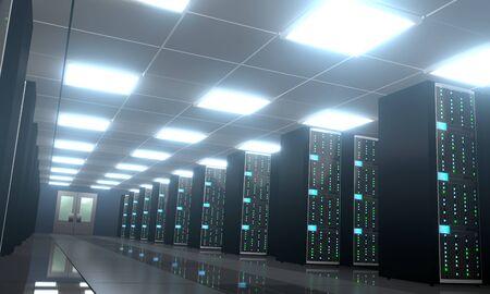3D server room/ data center - storage, hosting concept Banque d'images - 131153482