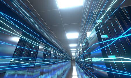 3D server room/ data center - storage, hosting, fast Internet concept Banque d'images - 131153485