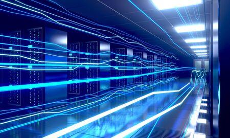 3D server room/ data center - storage, hosting, fast Internet concept Banque d'images - 131153486