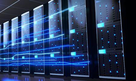 3D server room/ data center - storage, hosting, fast Internet concept Banque d'images - 131153487