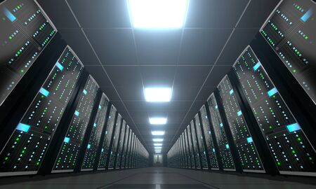 3D server room/ data center - storage, hosting concept Banque d'images - 131153488