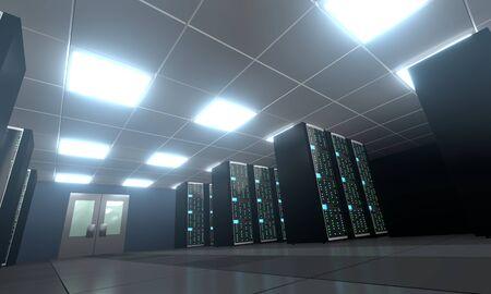 3D server room/ data center - storage, hosting concept Banque d'images - 131153490