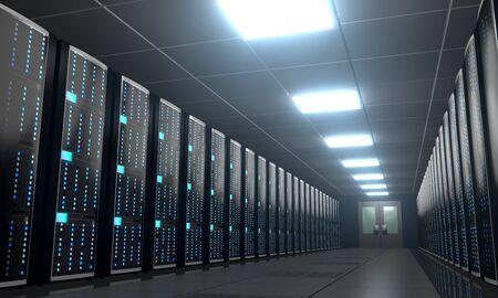 Salle de serveurs/centre de données 3D - stockage, concept d'hébergement