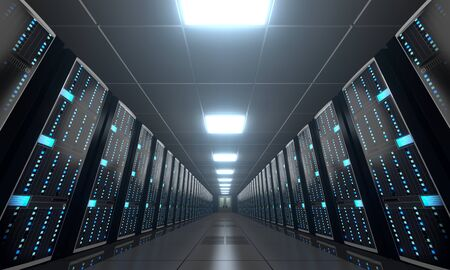 3D server room/ data center - storage, hosting concept Banque d'images - 131153492