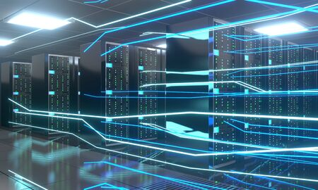 3D server room/ data center - storage, hosting, fast Internet concept Banque d'images - 131153493