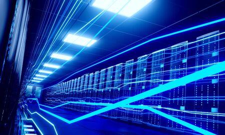 3D server room/ data center - storage, hosting, fast Internet concept Banque d'images - 131153494