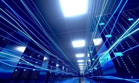 3D server room/ data center - storage, hosting, fast Internet concept Banque d'images - 131153495