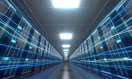 3D server room/ data center - storage, hosting, fast Internet concept Banque d'images - 131153496