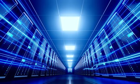 3D server room/ data center - storage, hosting, fast Internet concept Banque d'images - 131153499