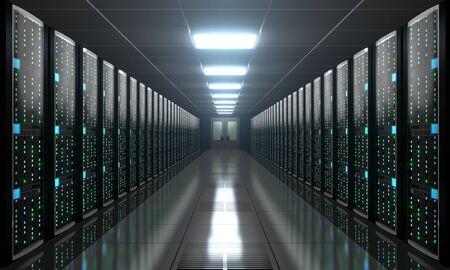 3D server room/ data center - storage, hosting concept Banque d'images - 131153503