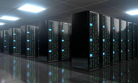3D server room/ data center - storage, hosting concept Banque d'images - 131153507