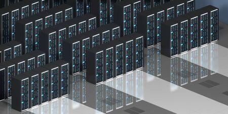 3D server room/ data center - storage, hosting concept Banque d'images - 131153508