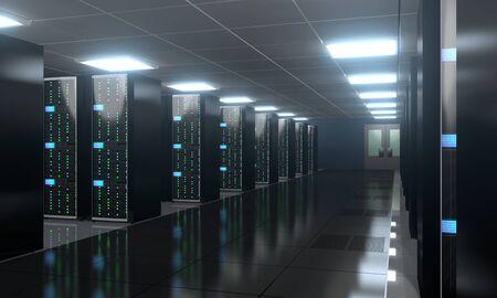 3D server room/ data center - storage, hosting concept Banque d'images - 131153509