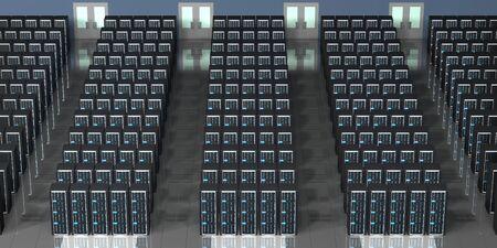 3D server room/ data center - storage, hosting concept Banque d'images - 131153511