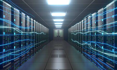 3D server room/ data center - storage, hosting, fast Internet concept Banque d'images - 131153512