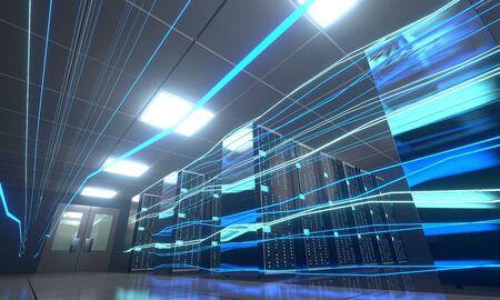 3D server room/ data center - storage, hosting, fast Internet concept Banque d'images - 131153513
